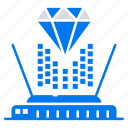 diamond, hologram, projection, technology icon
