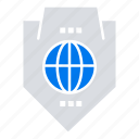 access, globe, protection, shield, world icon