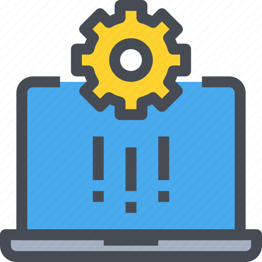 computer, development, engineering, gear, industry, management, process icon
