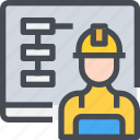 construction, engineer, planning, work, worker icon