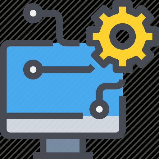 computer, engineer, management, mechanic, process icon