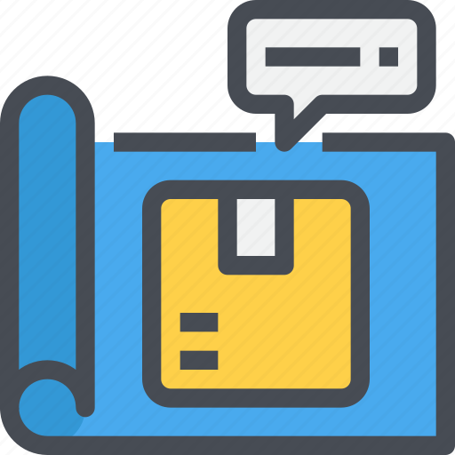 blueprint, box, construction, delivery, plan, product, shipping icon