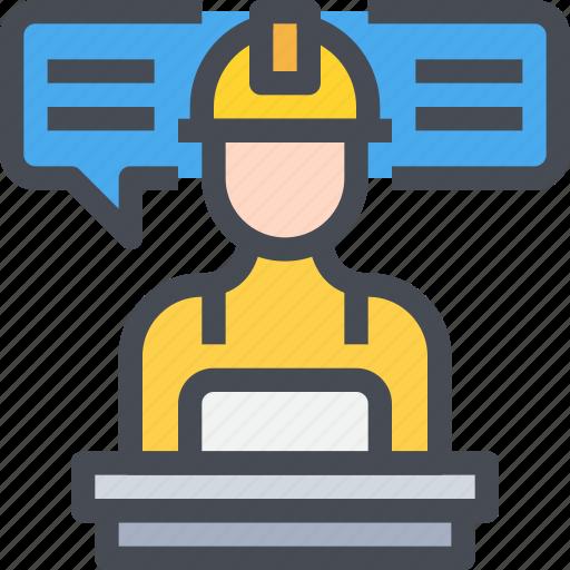 communication, engineer, leader, message, people icon