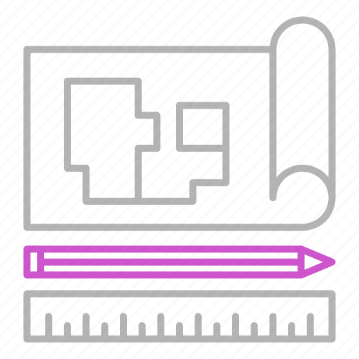architecture, blueprint, engineering, tools icon