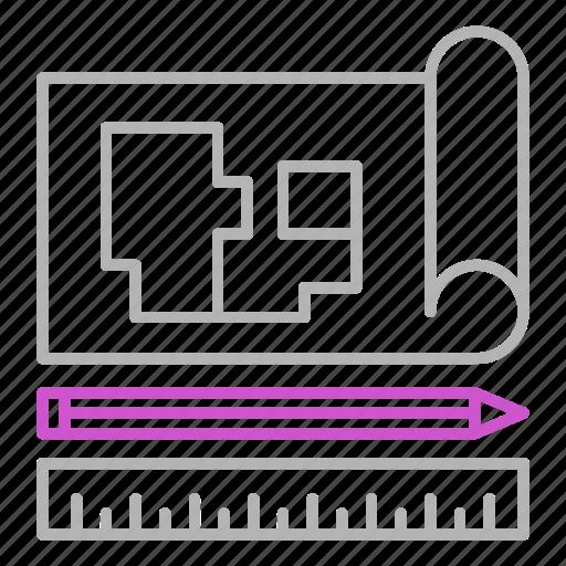 Blueprint, engineering, tools, architecture icon