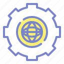 cogwheel, engineering, globe icon