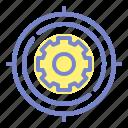 engineering, gear, target icon