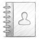 address, book, engineering, hand drawn, sketch icon