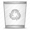 bin, engineering, hand drawn, sketch icon