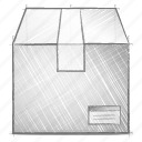 box, engineering, hand drawn, sketch icon