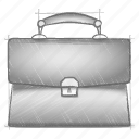 briefcase, engineering, hand drawn, sketch icon