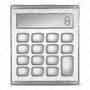 calculator, engineering, hand drawn, sketch icon