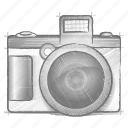 camera, engineering, hand drawn, sketch icon