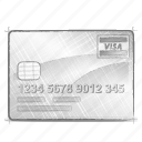 cards, credit, engineering, hand drawn, sketch icon