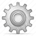 engineering, gear, hand drawn, sketch icon