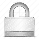 engineering, hand drawn, lock, sketch icon
