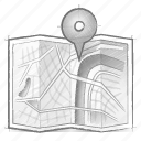 engineering, hand drawn, map, sketch icon