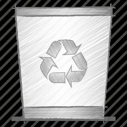 bin, engineering, hand drawn, sketch icon