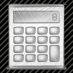 calculator, engineering, hand drawn, sketch icon
