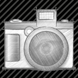camera, engineering, hand drawn, sketch icon