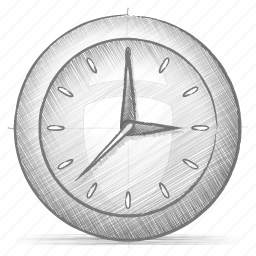 clock, engineering, hand drawn, sketch icon