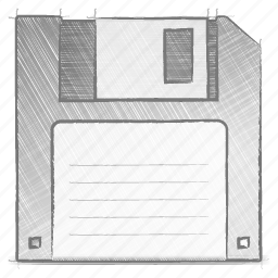 engineering, floppy, hand drawn, sketch icon