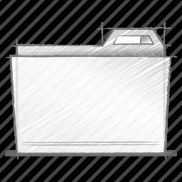 engineering, folder, hand drawn, sketch icon