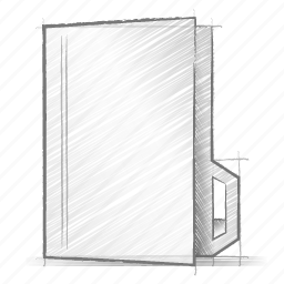 engineering, folder, hand drawn, sketch, vertical icon