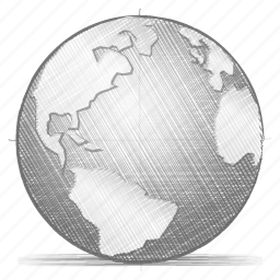 engineering, globe, hand drawn, sketch icon