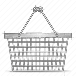 basket, engineering, hand drawn, shopping, sketch icon
