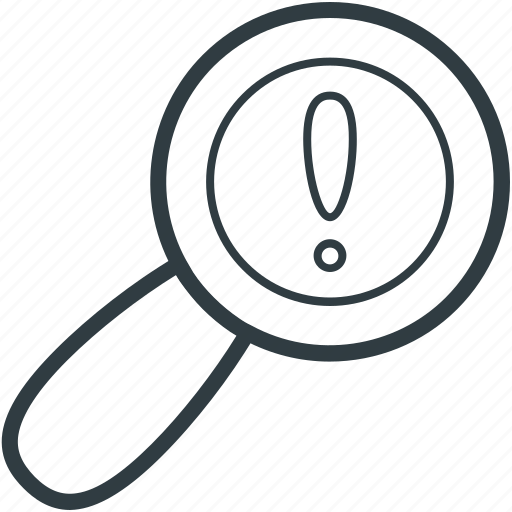 exclamation mark, exploration, idea, interrogative symbol, magnifier icon