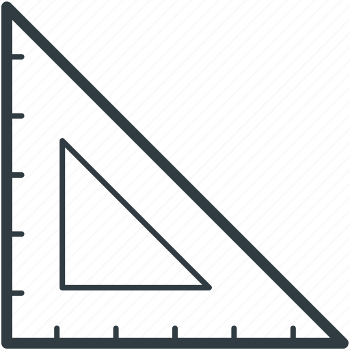 drafting triangle, measure, measuring, ruler, tool icon