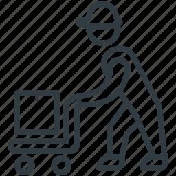 employee, hand truck, laborer, working, workman icon