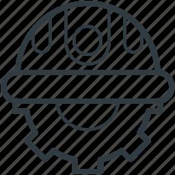 cogwheel, contractor, hard cap, industrial, mechanic icon