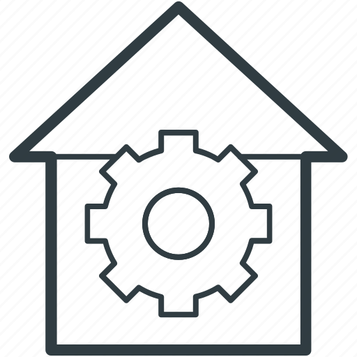construction concept, gear sign, house, house maintenance, real estate icon