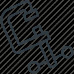 c clamp symbol, carpentry, construction equipment, hardware, work tool icon