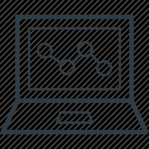 laptop screen, online chart, online graph, online presentation, statistics icon