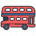 british, bus, decker, double, london, red, travel icon