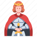 arthur, knight, sword, king, middle, medieval, excalibur icon