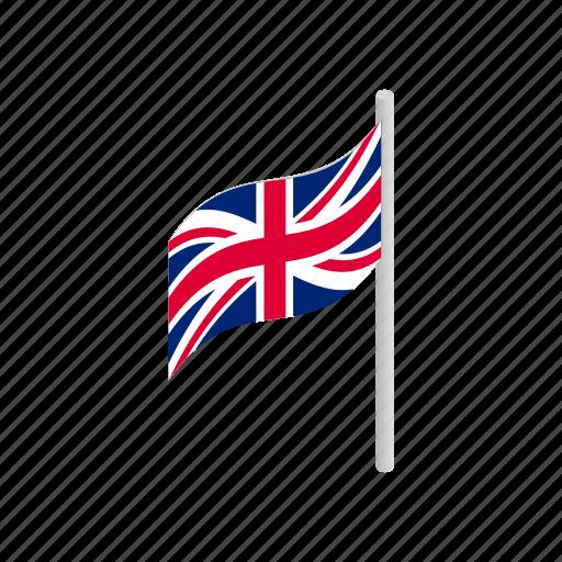britain, england, flag, isometric, kingdom, national, united icon