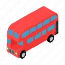 bus, decker, england, isometric, london, transportation, vehicle icon