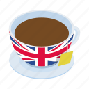 british, cup, drink, english, isometric, tea, traditional icon