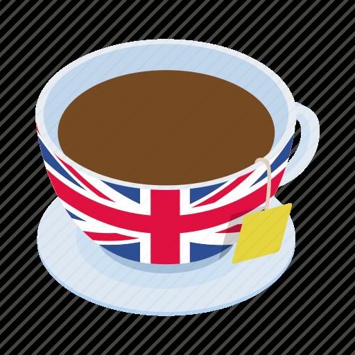 british, cup, drink, english, isometric, tea, traditional icon