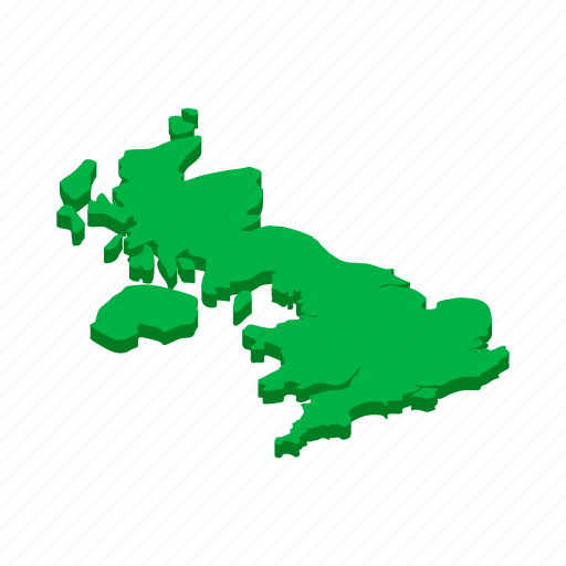 britain, british, england, isometric, map, outline, uk icon