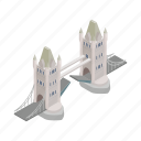 bridge, england, isometric, london, river, tower, uk icon
