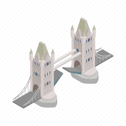 bridge, england, isometric, london, river, tower, uk icon