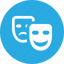 comedy, entertainment, mask, play, show, theater, tragedy icon