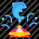 circus, dolphin, entertainment, show, splash icon