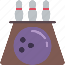 bowling, entertainment, skittles icon