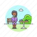 chess, entertainment, game, old, park, play, strategy, woman icon